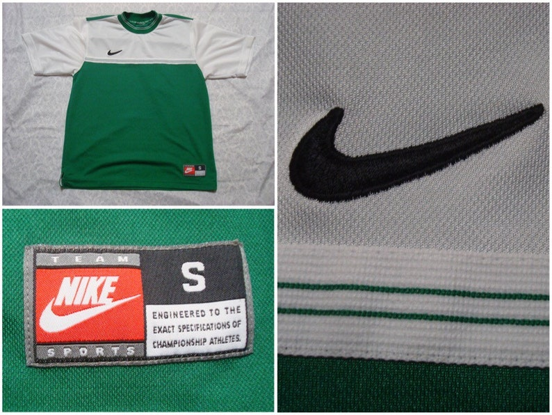 2668c75d878f9 Vintage Men's 90's Nike Soccer Jersey Shirt Green White Stripes Short  Sleeve Small Made in the USA