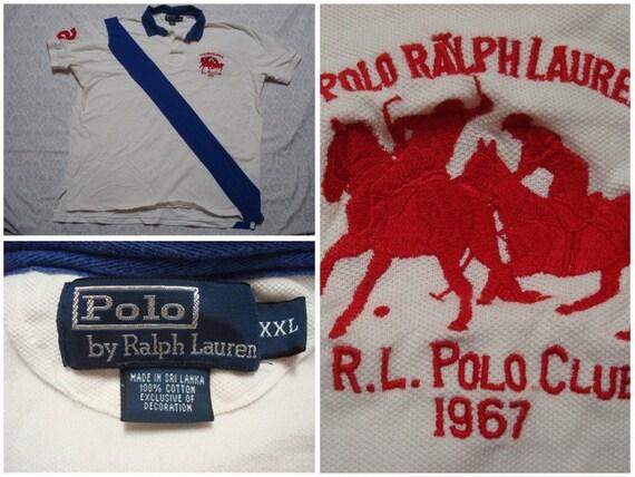 Piqué Rayure Bleu Blanc Polo Chemise Coton Vintage Rouge Club Hommes Xxl Crête À Manches Courtes Lauren Ralph shCxtQrd