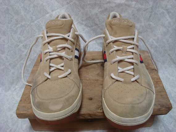 Vintage Tommy Hilfiger Sneakers Tan White Blue Re… - image 7