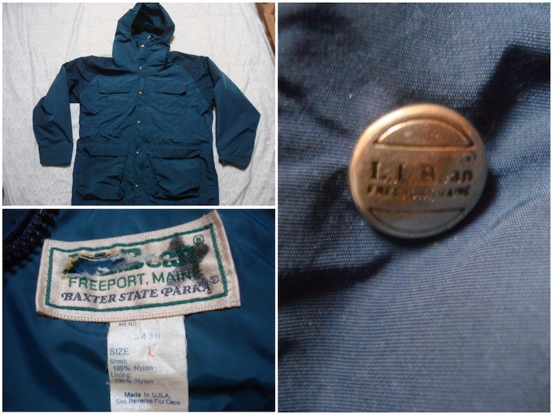 3336ff399 Vintage Men's 80's L.L.Bean Mountain Parka Jacket Blue Baxter State  Full-zip Rain Jacket Hood Hard Shell Large Made in USA