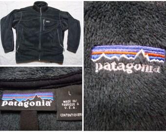 Vintage Patagonia Fleece Jacket Dark Grey Regulator Deep Pile Full Zip 90's Men's Large Made in USA