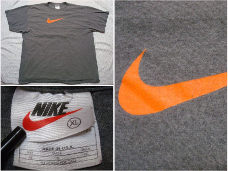 d47bbd05 Vintage Men's 90's Nike Tee Shirt Dark Grey Orange   Etsy