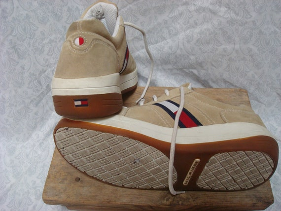 Vintage Tommy Hilfiger Sneakers Tan White Blue Re… - image 8