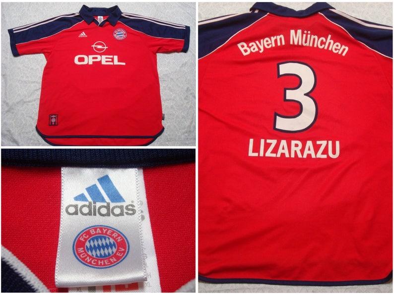 release date 63025 3a536 Vintage Men's 90's FC Bayern Munich Jersey Adidas Bixente Lizarazu Blue Red  Soccer German Bundesliga Opel Short Sleeve XL