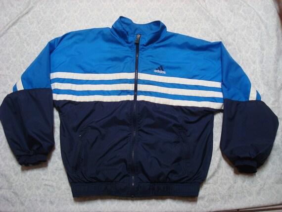 Windbreaker Jacke Streifen Voller Vintage Medium Adidas Weißen Herren 90 Zip Blau vmnwN8Oy0