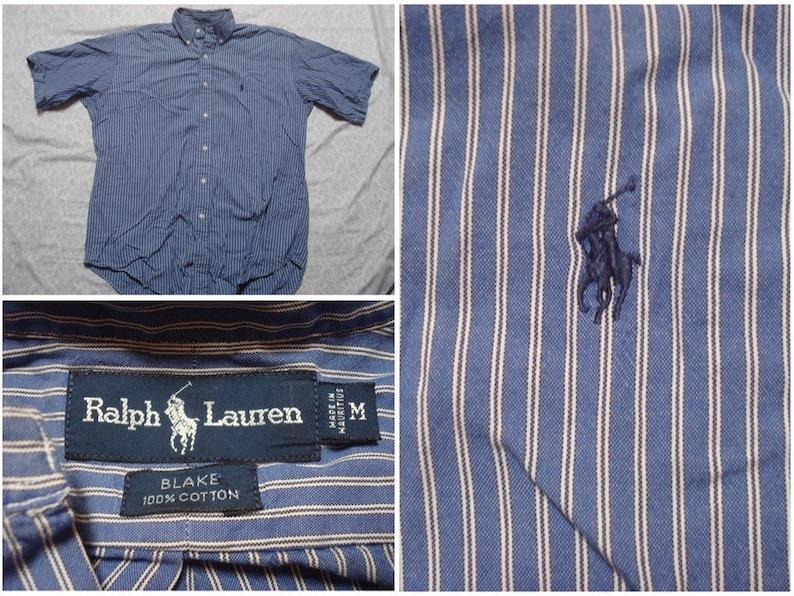 Vintage Short Buttonup Lauren Blake Men's Ralph Oversized White Sleeve Polo Shirt Medium Blue Stripe 90's cFJuK13Tl