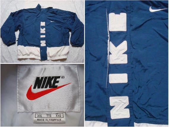 Vintage Retro Men's Nike 90's Jacket Blue White Spell Out Full Zip Windbreaker Streetwear Color Block XXL lIuCzvuRmc