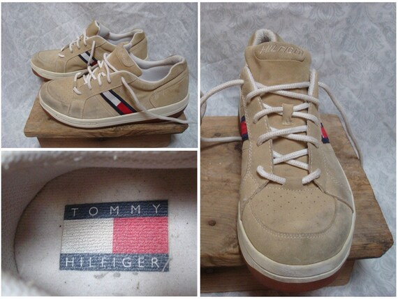 Vintage Tommy Hilfiger Sneakers Tan White Blue Re… - image 1