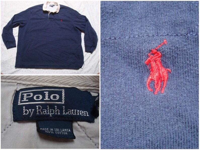 85e90ff9c Vintage Men's 90's Polo Ralph Lauren Rugby Shirt Blue   Etsy