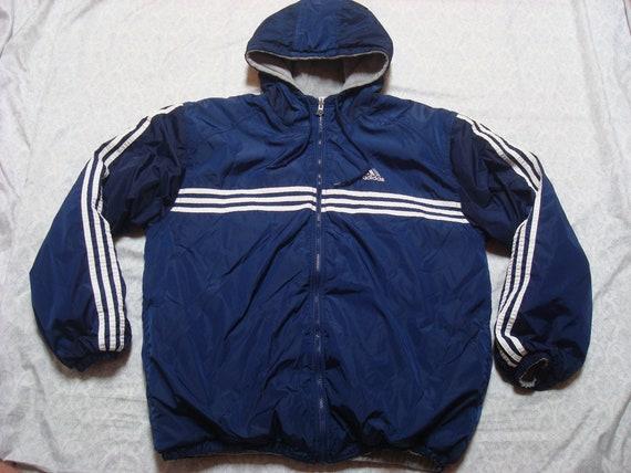 Pour homme Vintage 90 ' s Adidas veste réversible bleu gris trois rayures Logo épeler Full Zip coupe vent à capuche veste oversize Medium