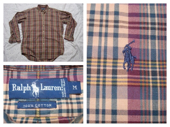 Polo Ralph Lauren pourpre vert, brun Tan Buttonup à carreaux manches longues chemise coton moyen Vintage hommes
