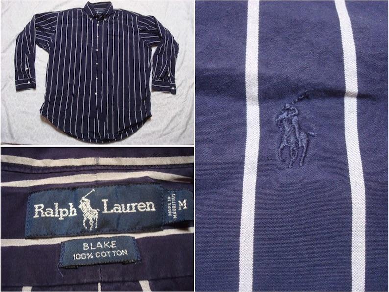 ccacd6d6 Vintage Men's 90's Polo Ralph Lauren Shirt Blake Blue White Stripe Buttonup  Oxford Pony Long Sleeve Oversized Medium