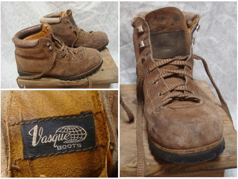 b0bcf5e27a5 Vintage Men's 80's Vasque Hiking Boots Brown All Leather Vibram Sole Mens  size 8 Womens size 9.5 Made in Italy
