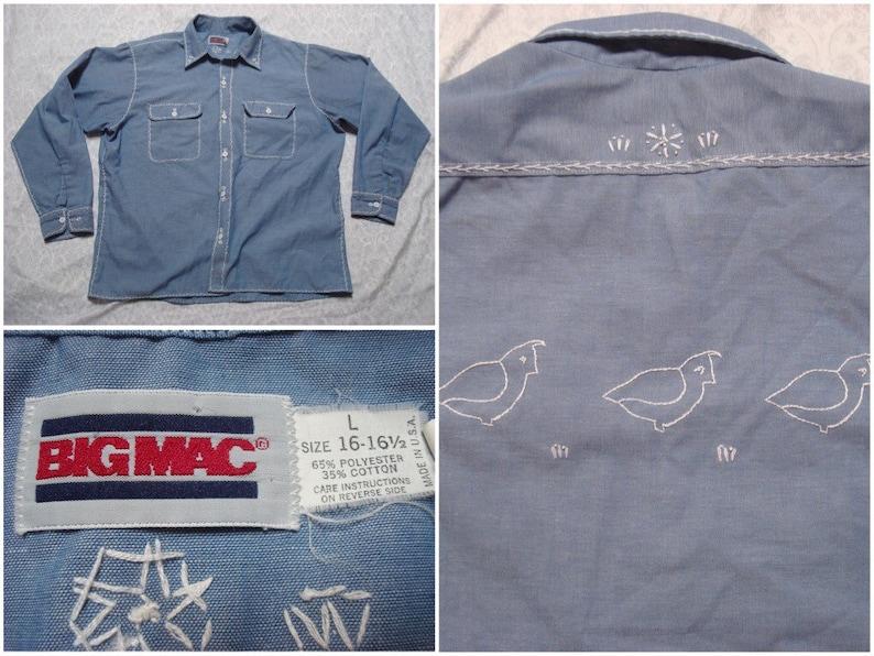 b30a6c5c Vintage Men's 70's Big Mac Shirt Chambray Blue | Etsy