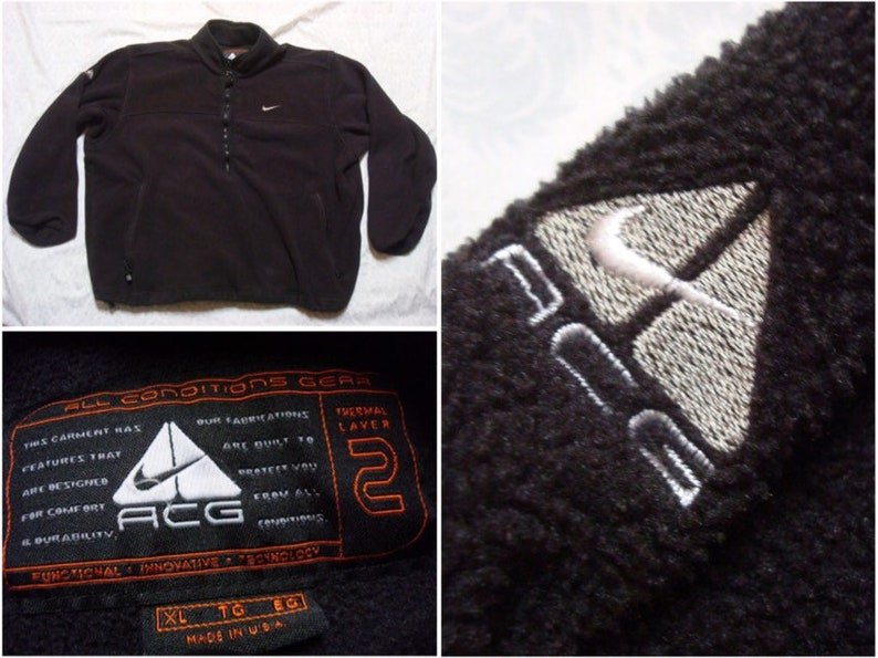 16fb361bf56cc Vintage Men's 90's Nike ACG Fleece Jacket Black Full Zip Spell Out Swoosh  XL Made in USA