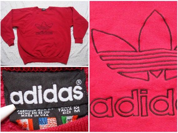 Vintage Adidas Sweatshirt Red Black Spell Out Tref