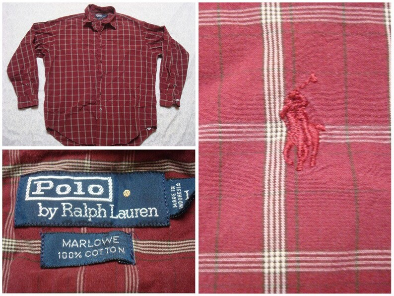 76838e0779e22 Vintage Men s 90 s Polo Ralph Lauren Marlowe Plaid