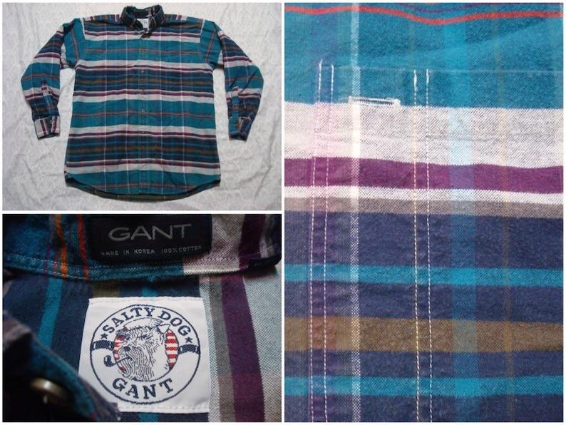 f248e5d79c5c Vintage Men's 90's Gant Plaid Shirt Salty Dog Blue | Etsy