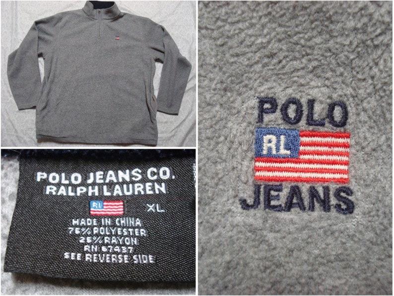 photos officielles d6f92 c041b 90 ' s Polo Jeans Co polaire veste Ralph Lauren gris bleu drapeau rouge  Logo Spell pour homme Vintage Out pull brodé surdimensionné XL