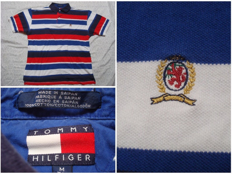 2665399bf Vintage Men's 90's Tommy Hilfiger Polo Shirt Red Blue | Etsy