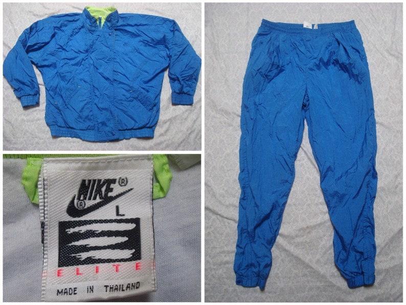 eb48f893bc0585 Vintage 90 s Nike Elite Track Suit Windbreaker Pants Blue