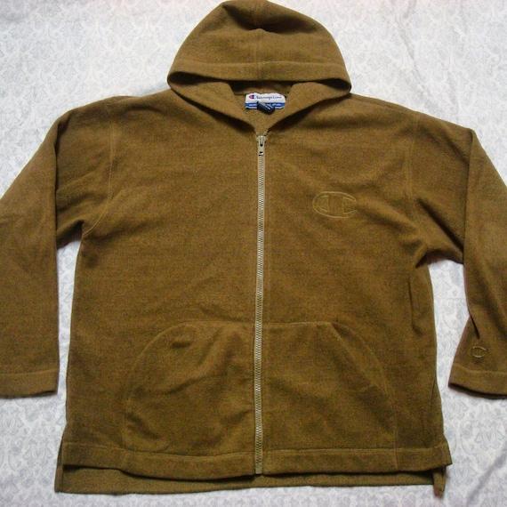 90 ' s pour homme vintage Champion polaire à capuche veste marron beige gros Logo préciser sur Streetwear Full Zip grand
