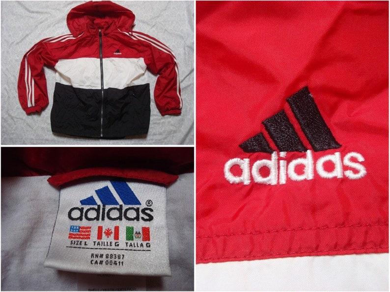 5055b25bb04c Vintage 90 s Adidas Windbreaker Jacket Red Black White
