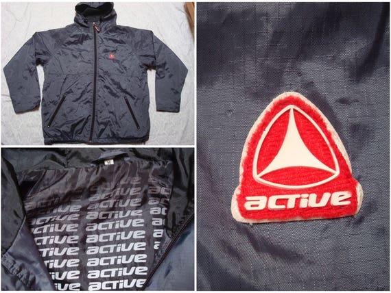 Vintage milieu d'hommes 90 ' s Active Jacket gris Logo rouge à roulettes Skate capuche Full Zip coupe vent veste oversize