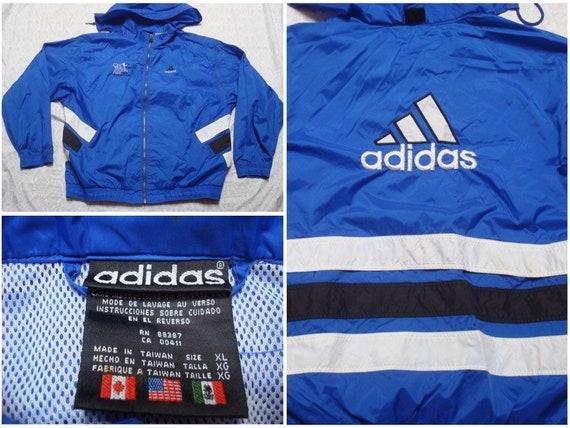 Hommes Vintage 90 ' s Logo bleu blanc trois bandes Adidas veste épeler Full Zip coupe vent XL