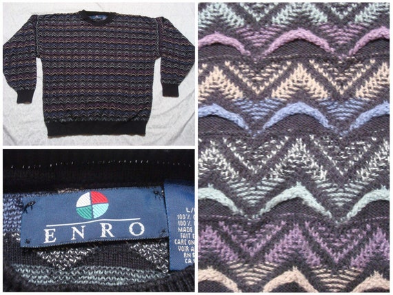 Vintage Enro Sweater Coogi Inspired Black Blue Kni