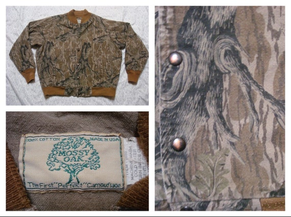 Vintage Retro Men's Mossy Oak Camo Jacket Forest Camo Button Snaps Large Made in the USA xM24cW