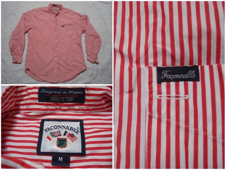 050e8a5a6900d Faconnable chemise blanc rayure rouge à manches longues