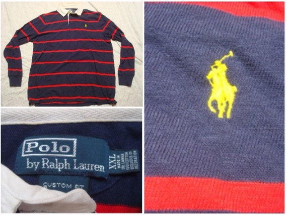 Vintage Polo Rugby Shirt Ralph Lauren Stripe Blue