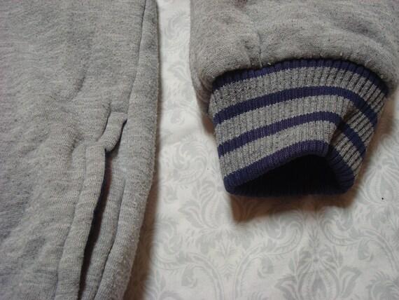 Adidas Vintage Giacca reversibile blu grigio tre strisce Logo incantesimo fuori Full Zip felpa con cappuccio giacca bambini XL Mens Womens piccolo