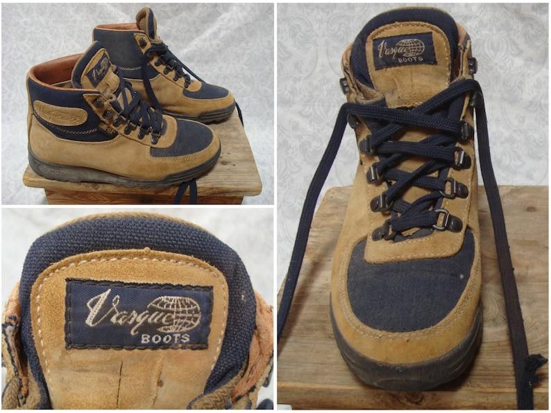 Basque passerelle années 90 femmes vintage randonnée bottes bottines marron bleu chaussures cuir 6.5