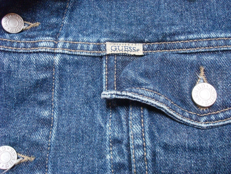 Vintage Herren 80er Jahre Guess Jeans blau Jean Jacke Indigo Denim Jacke Medium Made in usa