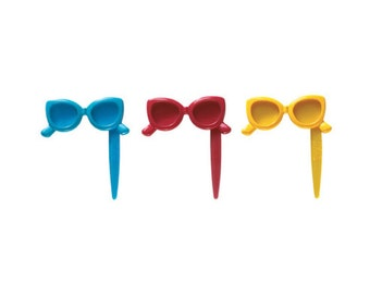 Sunglasses Cupcake Topper Picks - 12 Count, Assorted - Baking and Cake Decorating