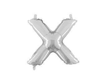 Letter X Silver Foil (Mylar) Balloons - 14 Inch Air Fill Only - Hanging Decorations Party Supplies