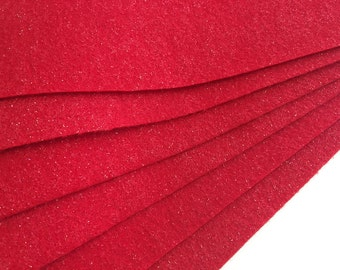 Glitter Red Felt Sheets - 6 pcs - Eco Fi Craft Felt Supplies