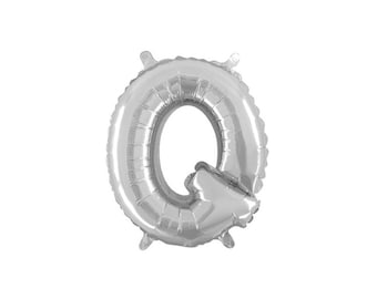 Letter Q Silver Foil (Mylar) Balloons - 14 Inch Air Fill Only - Hanging Decorations Party Supplies