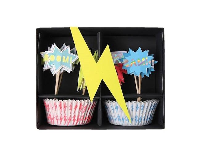 Zap! Super Hero Cupcake Kit, Kids, Birthday, Theme, Party, Baking, Supplies, Meri Meri