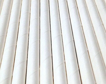 25 White Paper Drinking Straws - Party Decor Supplies Tableware
