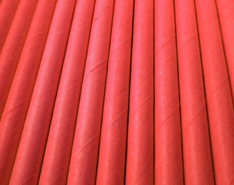 25 Red Paper Drinking Straws - Party Decor Supplies Tableware