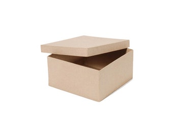 Square Paper Mache Cardboard Box - 8 x 8 x 4 Inch - Craft Gift Wrap Packaging Party Supplies
