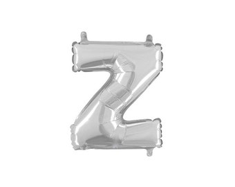 Letter Z Silver Foil (Mylar) Balloons - 14 Inch Air Fill Only - Hanging Decorations Party Supplies