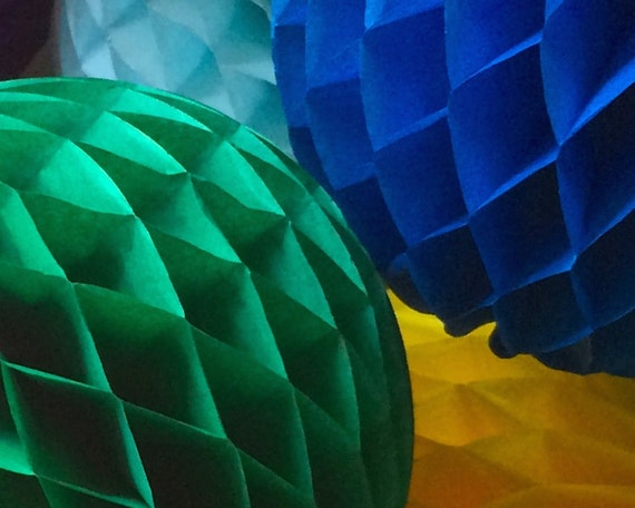 Green 12 Inch Honeycomb Tissue Paper Balls - Paper Party Decor Decoration Supplies