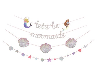 Let's Be Mermaids Garland, Meri Meri Party Decor, Party Supplies, Hanging Decorations, Under The Sea Party Theme