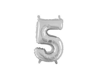 Number Five Silver Foil (Mylar) Balloons - 14 Inch Air Fill Only - Hanging Decorations Party Supplies
