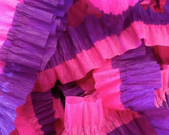 Bombay Pink and Purple Ruffled Crepe Paper Streamers - 36 Feet - Garland Hanging Decoration Party Supplies