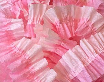 Baby Pink and Pink Ruffled Crepe Paper Streamers - 36 Feet - Paper Party Decorations Supplies